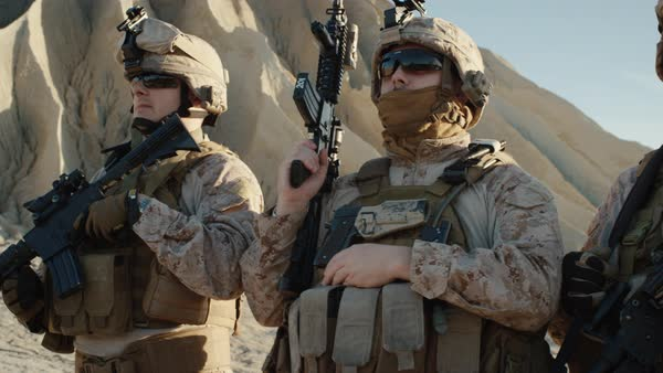 Squad of Fully Equipped Soldiers Standing in a Line in the Desert. Royalty-free stock video