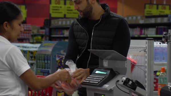 Customer in a Checkout Point in Supermarket Royalty-free stock video