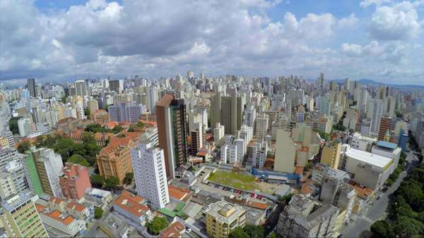 Aerial view of Elevado Presidente Costa e Silva (also known as Minhocao) in Sao Paulo, Brazil Royalty-free stock video
