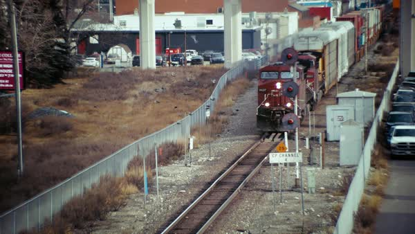 Medium shot of an oncoming freight train Royalty-free stock video