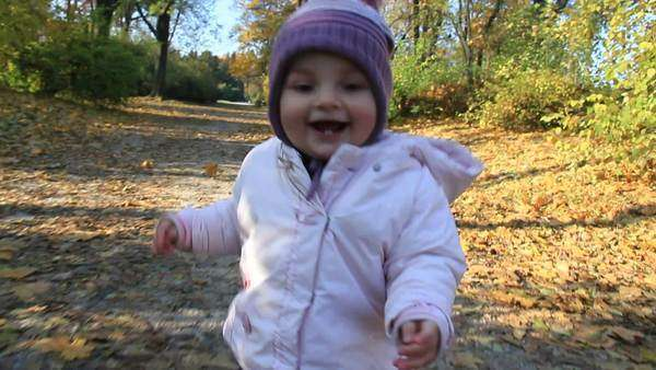 Baby walks in the park Royalty-free stock video