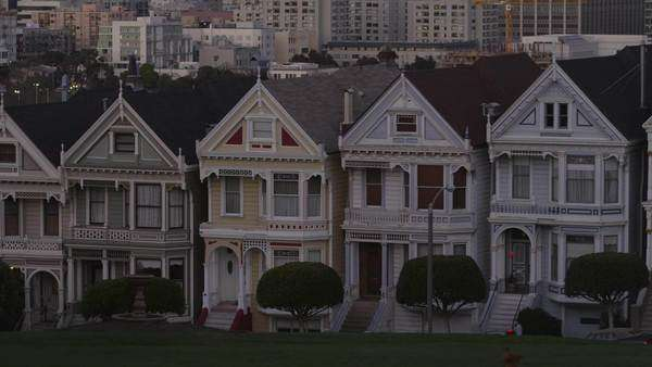 USA, California, San Francisco, View from Alamo Square Park on buildings Rights-managed stock video
