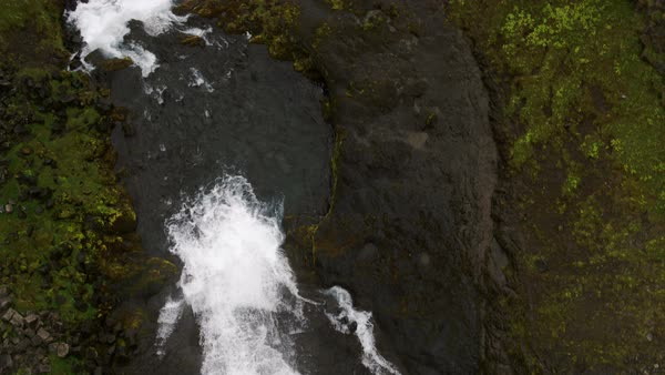 Wide high angle panning shot of waterfall and river Royalty-free stock video