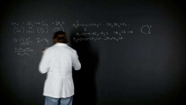 Medium shot timelapse male teacher writing scientific equations on blackboard/ Orem, Utah, USA Rights-managed stock video