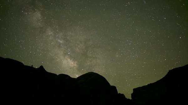 Timelapse wide shot Starry sky at night / Lake Powell, Utah, USA Rights-managed stock video