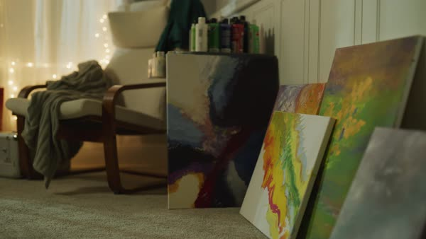 Abstract Multi Color Paintings On Floor