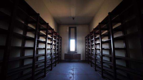 Tracking shot of room filled with empty bookshelves and bright window Rights-managed stock video