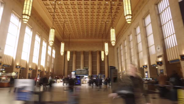 Hyperlapse of 30th Street Station in Philadelphia Royalty-free stock video