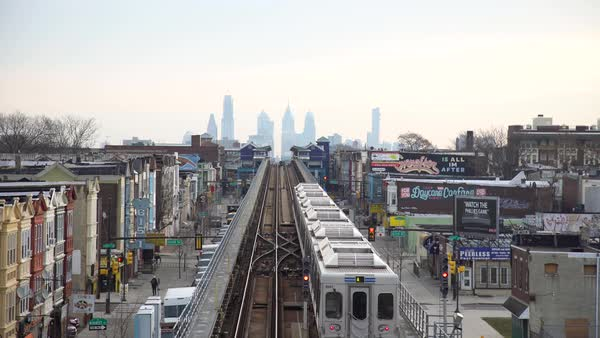 Elevated view of a subway in Philadelphia Royalty-free stock video