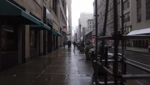 Steadicam shot of a street in Philadelphia in winter Rights-managed stock video