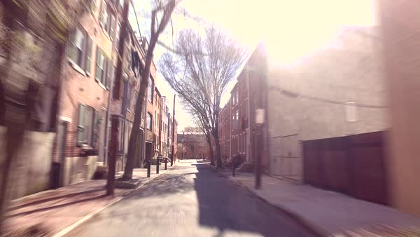 Hyperlapse of a narrow street during daytime Rights-managed stock video