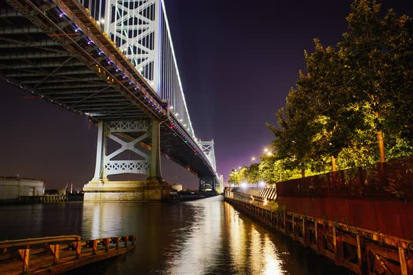 Static shot of Benjamin Franklin Bridge with Race Street Pier Royalty-free stock video
