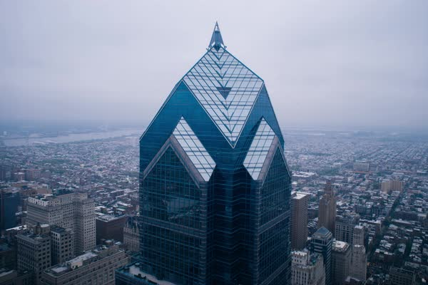 Timelapse of a Two Liberty Place in Philadelphia Rights-managed stock video