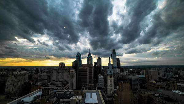 Thick storm clouds moving above Philadelphia skyline Rights-managed stock video