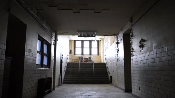 Wide shot of an empty corridor in Bok School, Philadelphia, PA, USA Rights-managed stock video