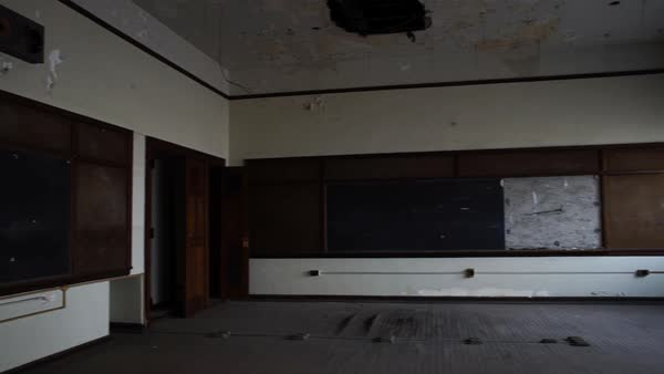 Wide shot of an abandoned class room in Bok School, Philadelphia, PA, USA Rights-managed stock video