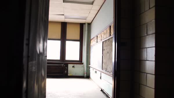 Medium shot of an abandoned class room in Bok School, Philadelphia, PA, USA Rights-managed stock video