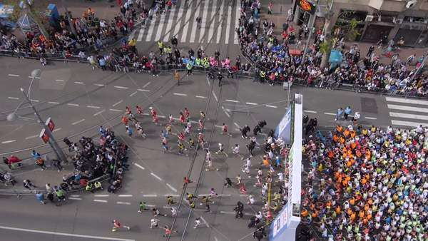 Aerial view of marathon city runners in the streets of Belgrade Royalty-free stock video