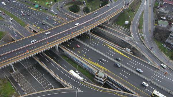 Aerial view of highway traffic Royalty-free stock video