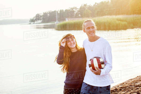 Young couple with football Royalty-free stock photo