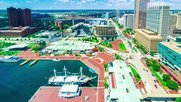 Timelapse of Baltimore from the Inner Harbor Royalty-free stock video