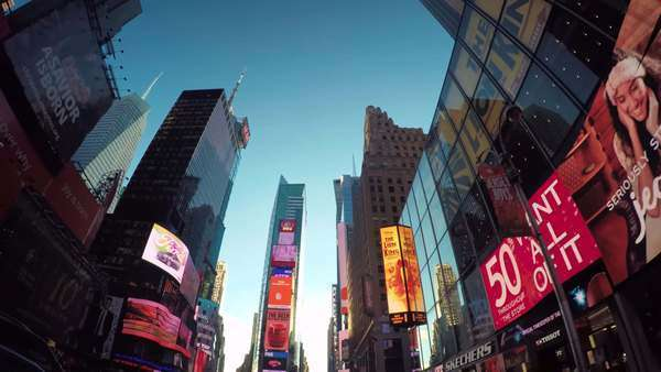 Point of view driving timelapse shot looking up at the buildings surrounding Times Square, Manhattan NY Royalty-free stock video
