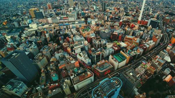 Aerial timelapse of a bustling city (Ikebukuro, Tokyo) Royalty-free stock video