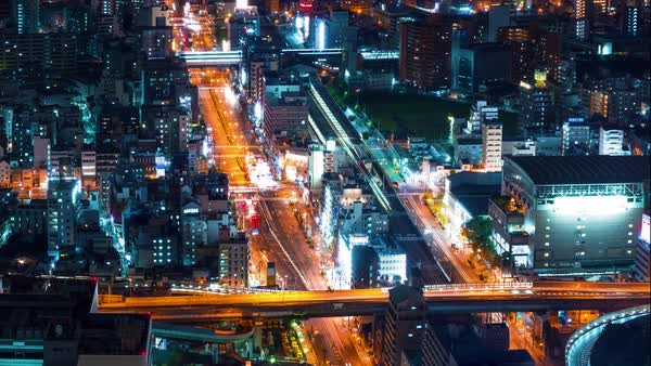 Timelapse of the Osaka cityscape from high above Royalty-free stock video
