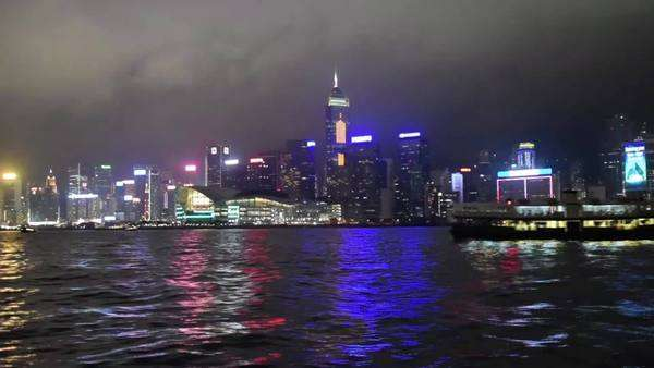 Hong Kong night skyline from star ferry Royalty-free stock video