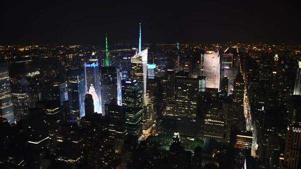 New York panoramic aerial night view from empire state building Royalty-free stock video