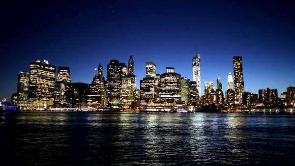 NYC Manhattan skyline night Royalty-free stock video