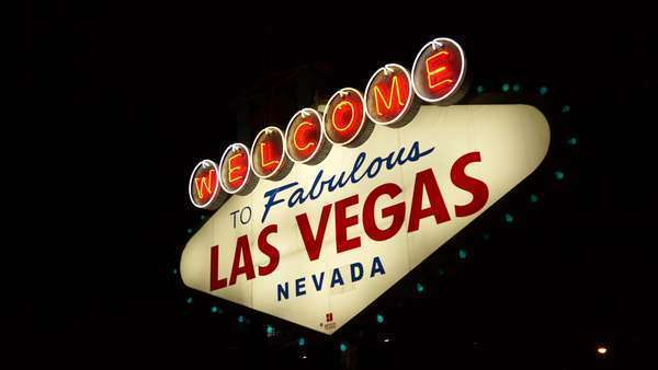 "View of the ""Welcome to Fabulous Las Vegas"" sign at night Royalty-free stock video"