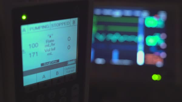 View of hospital monitoring equipment in a dark room Royalty-free stock video