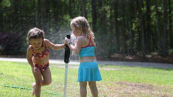 Girls playing on a lawn and getting wet by a sprinkler Royalty-free stock video