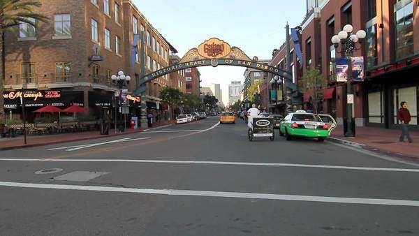 View of Gaslamp Quarter in Downtown, San Diego, California, USA Royalty-free stock video