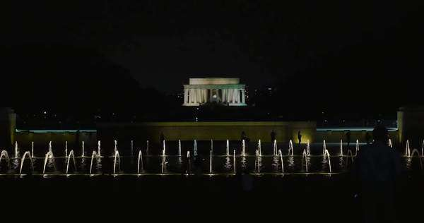 An establishing shot of the Lincoln Memorial at night. Royalty-free stock video