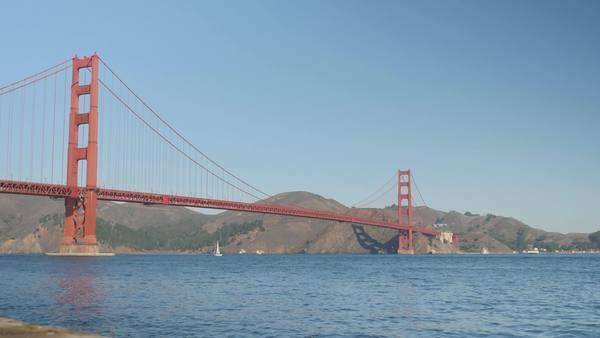 A daytime establishing shot of the Golden Gate Bridge as a sailboat passes underneath.   Royalty-free stock video