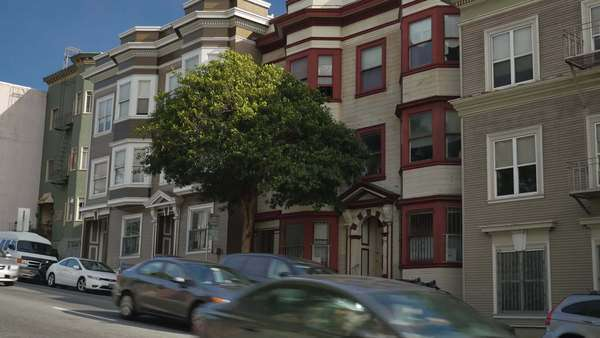 An establishing shot of typical San Francisco homes and apartment buildings. Royalty-free stock video