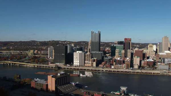 A slow pan of the Pittsburgh skyline. Royalty-free stock video