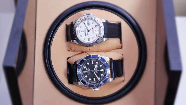 Two luxury wristwatches spin in an automated watch winder.    Royalty-free stock video