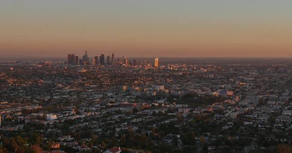 A sunset time lapse of the Los Angeles skyline as seen from the Griffith Observatory.  	 Royalty-free stock video