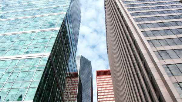 A tilt up of tall office buildings in downtown Pittsburgh, PA. Royalty-free stock video