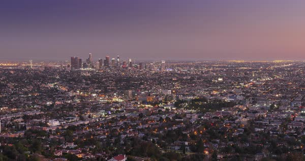 A looping dusk Los Angeles skyline timelapse. Royalty-free stock video