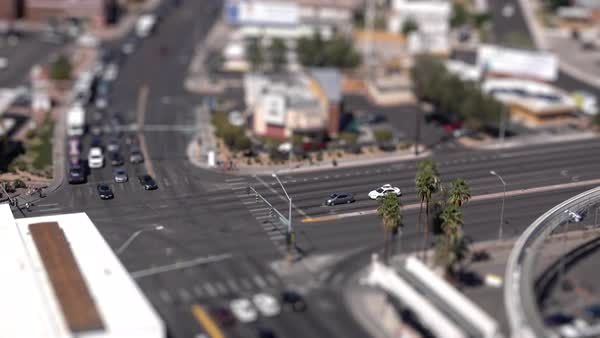 A high angle tilt shift of a Las Vegas intersection.  	 Royalty-free stock video
