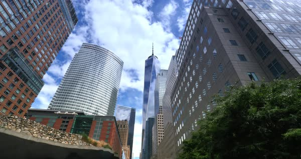 NEW YORK - Circa July, 2016 - A day time lapse shot of the new Freedom Tower in lower Manhattan.  	 Royalty-free stock video