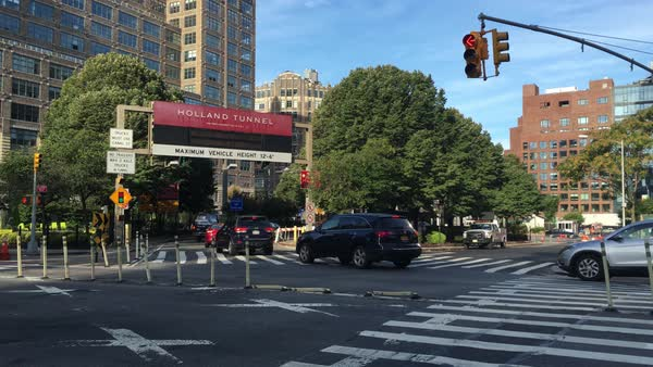 Manhattan rush hour traffic heads into the Holland Tunnel.  	 Royalty-free stock video
