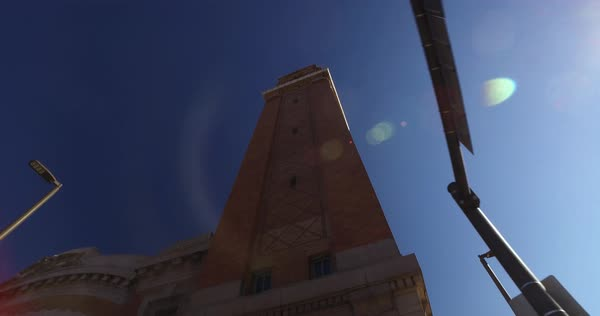 Looking up at the tall clock tower on the historic West Side Market in Cleveland, Ohio.  	 Royalty-free stock video
