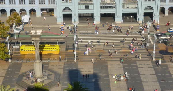 A high angle daytime establishing shot of the busy activity on The Embarcadero outside the Ferry Building. Royalty-free stock video