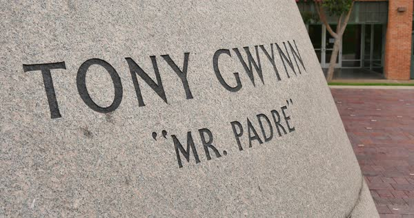 SAN DIEGO, CA - Circa February, 2017 - A dolly establishing shot of the name plate of the Tony Gwynn Statue near Petco Park baseball field.	 	 Royalty-free stock video