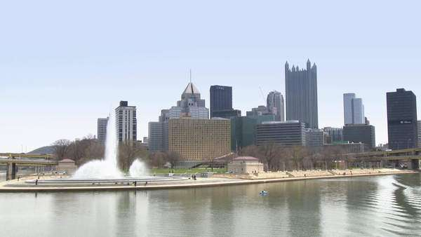 Passing by The Point in the city of Pittsburgh, Pennsylvania. As seen from the Monongahela River. Royalty-free stock video